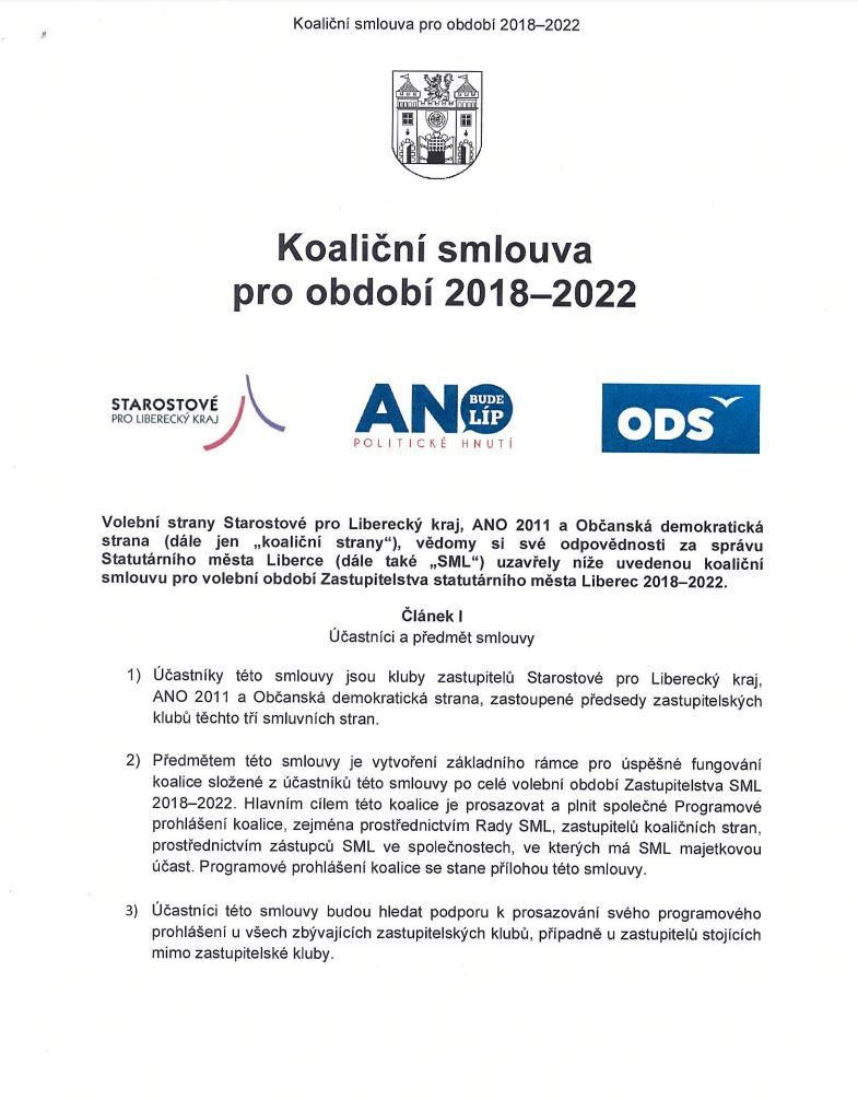 Koaliční smlouva 2018-2022